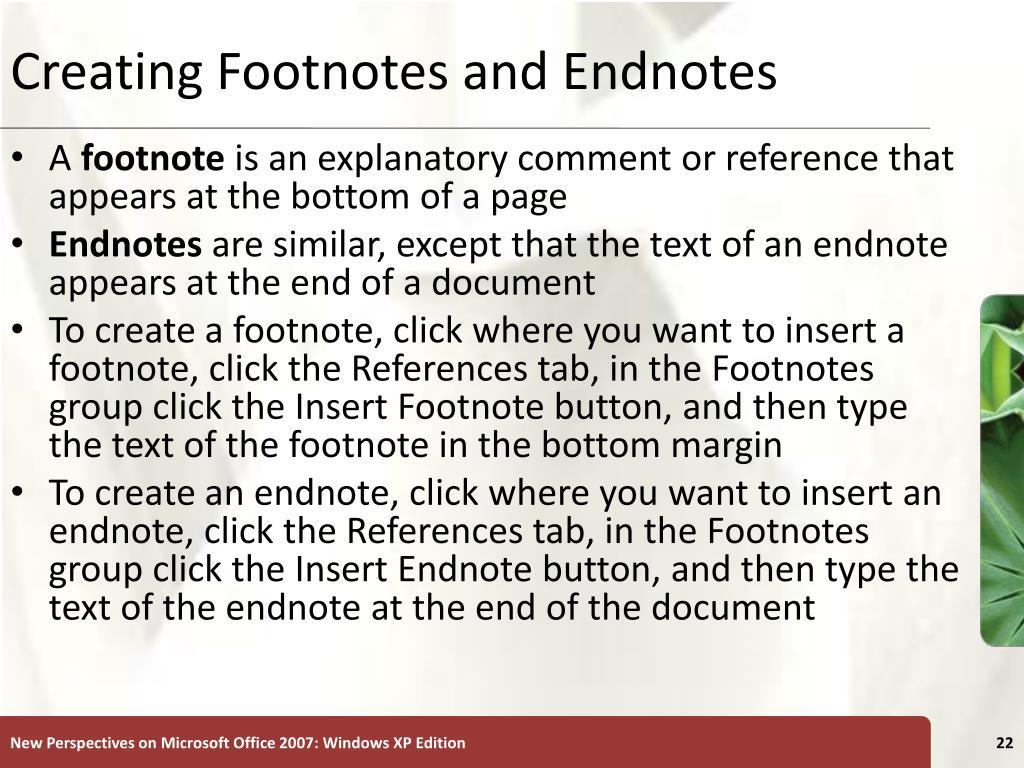 Creating Footnotes and Endnotes