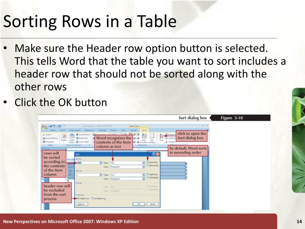 Sorting Rows in a Table