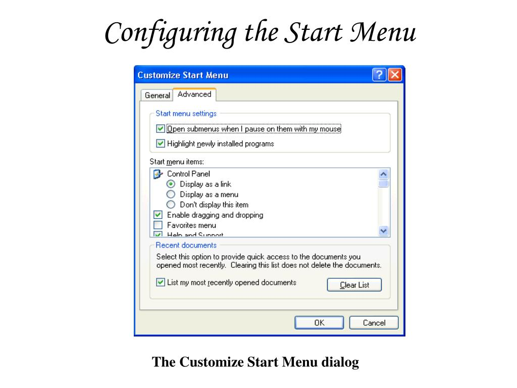 Configuring the Start Menu