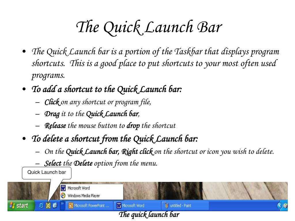 The Quick Launch Bar