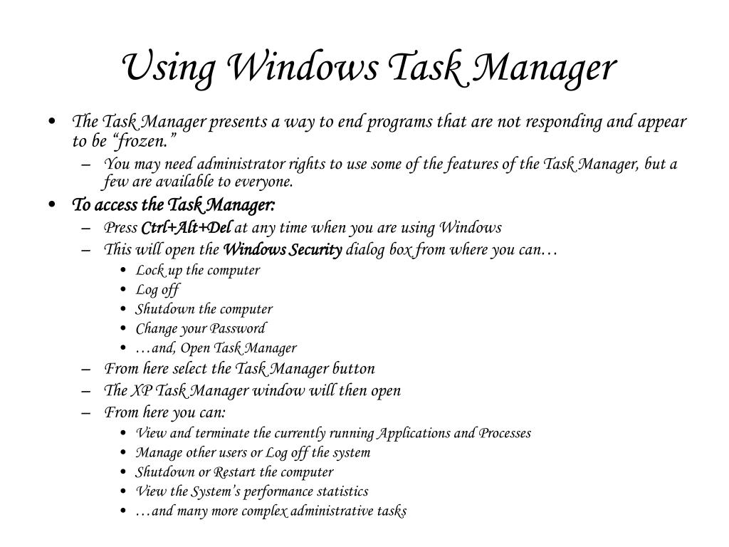 Using Windows Task Manager