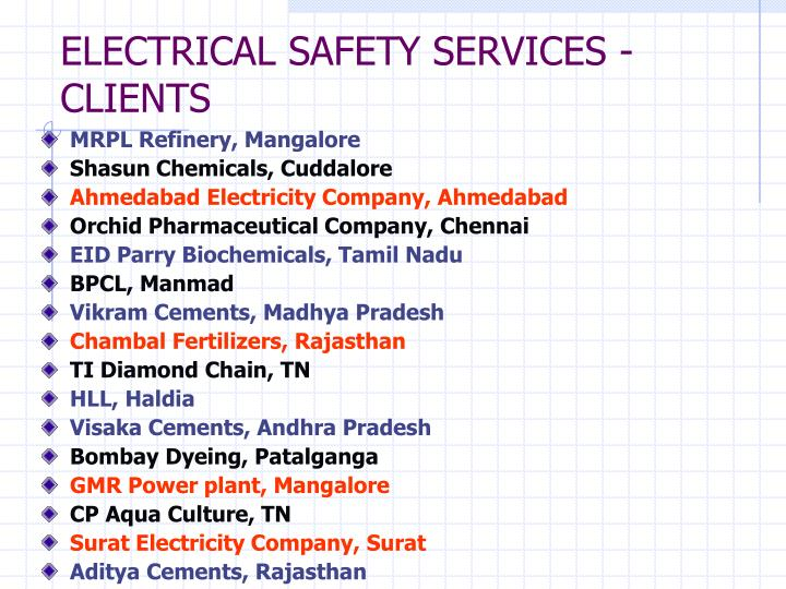 Electrical safety services clients l.jpg