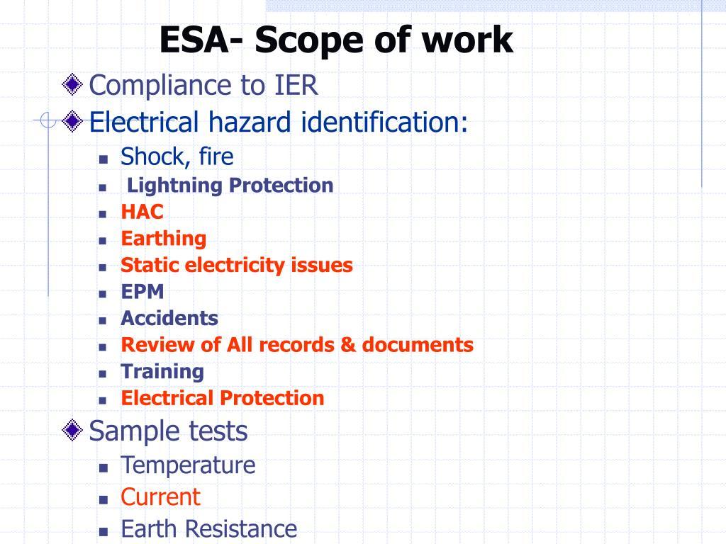 ESA- Scope of work