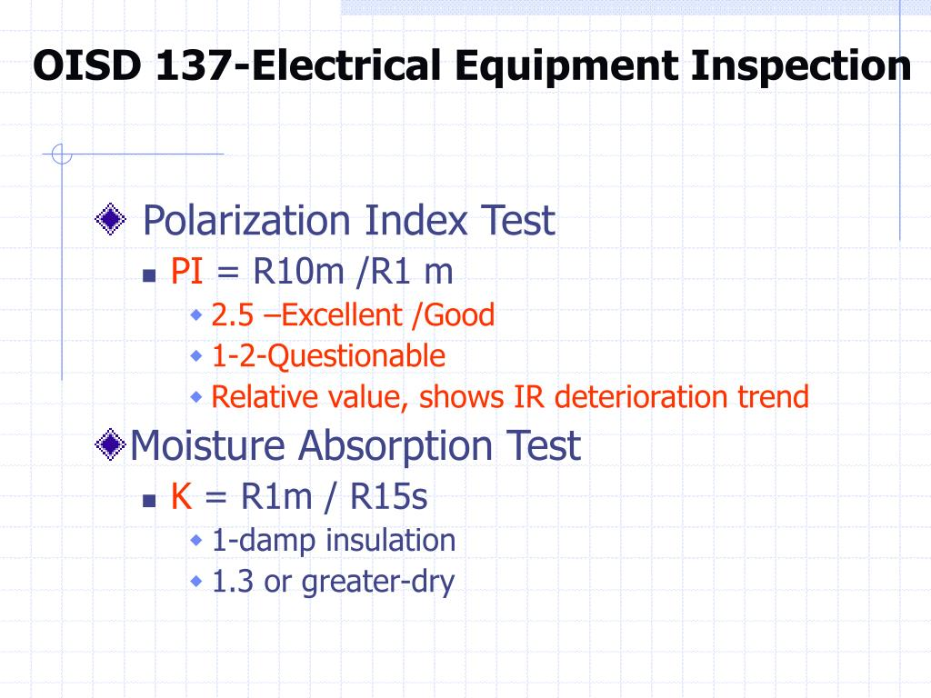 OISD 137-Electrical Equipment Inspection