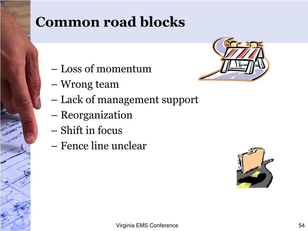 Common road blocks