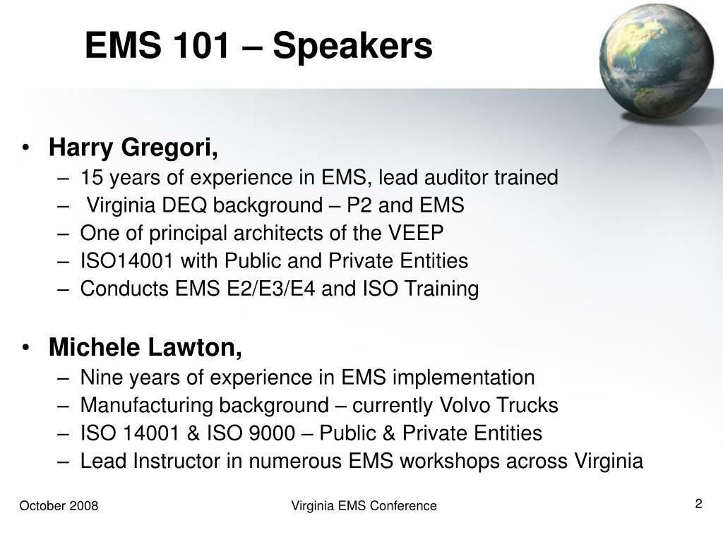 EMS 101 – Speakers