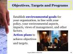 objectives targets and programs