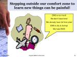 stepping outside our comfort zone to learn new things can be painful