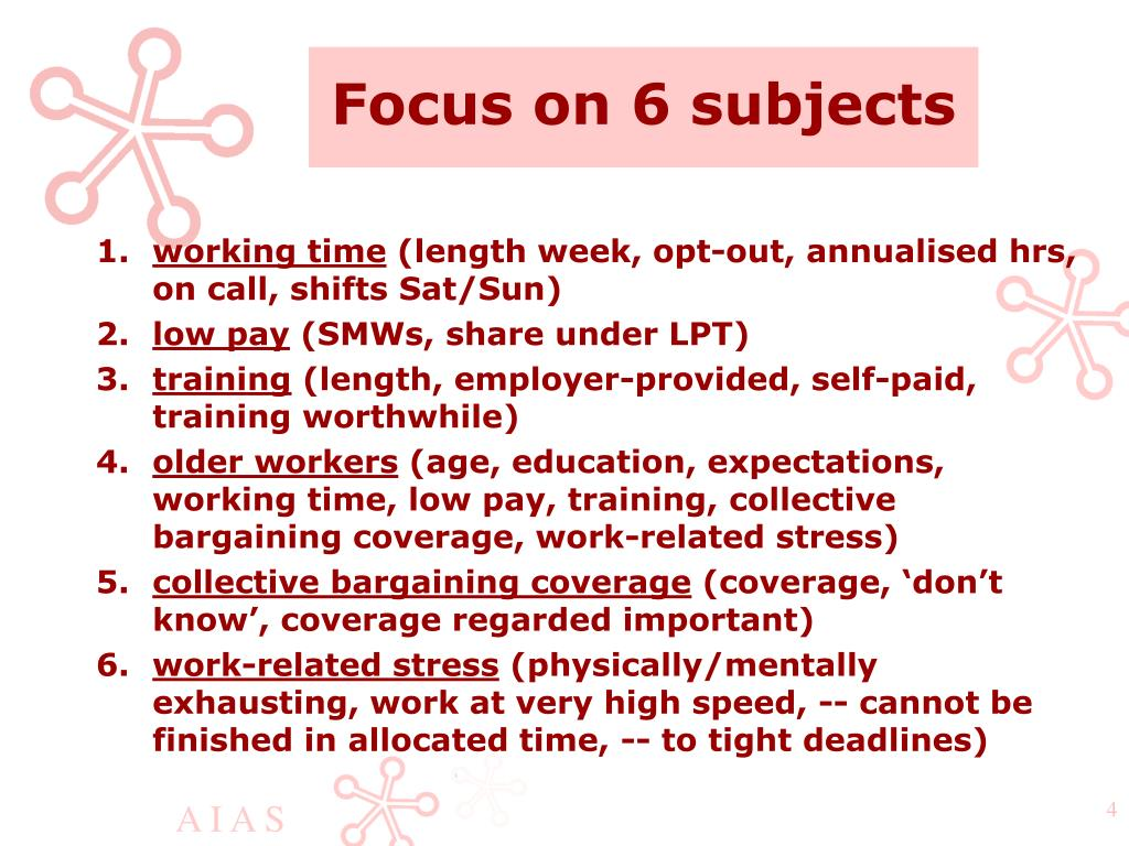 Focus on 6 subjects
