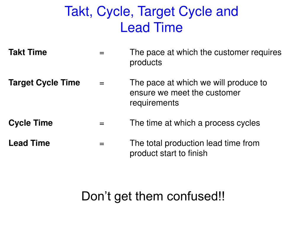 Takt, Cycle, Target Cycle and