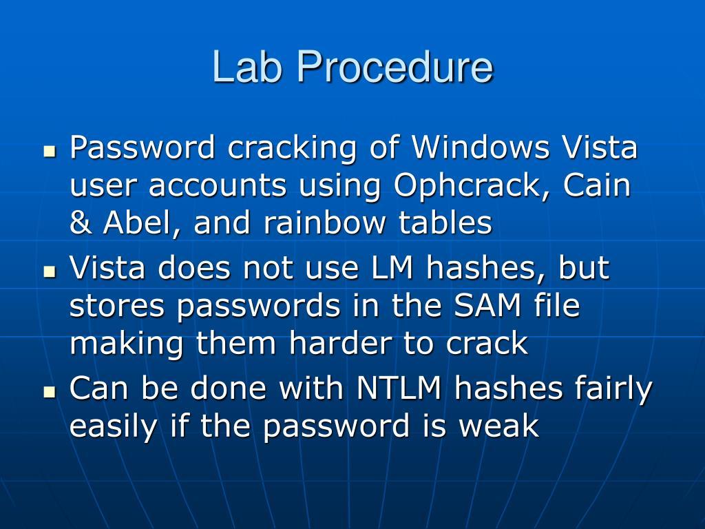 Lab Procedure