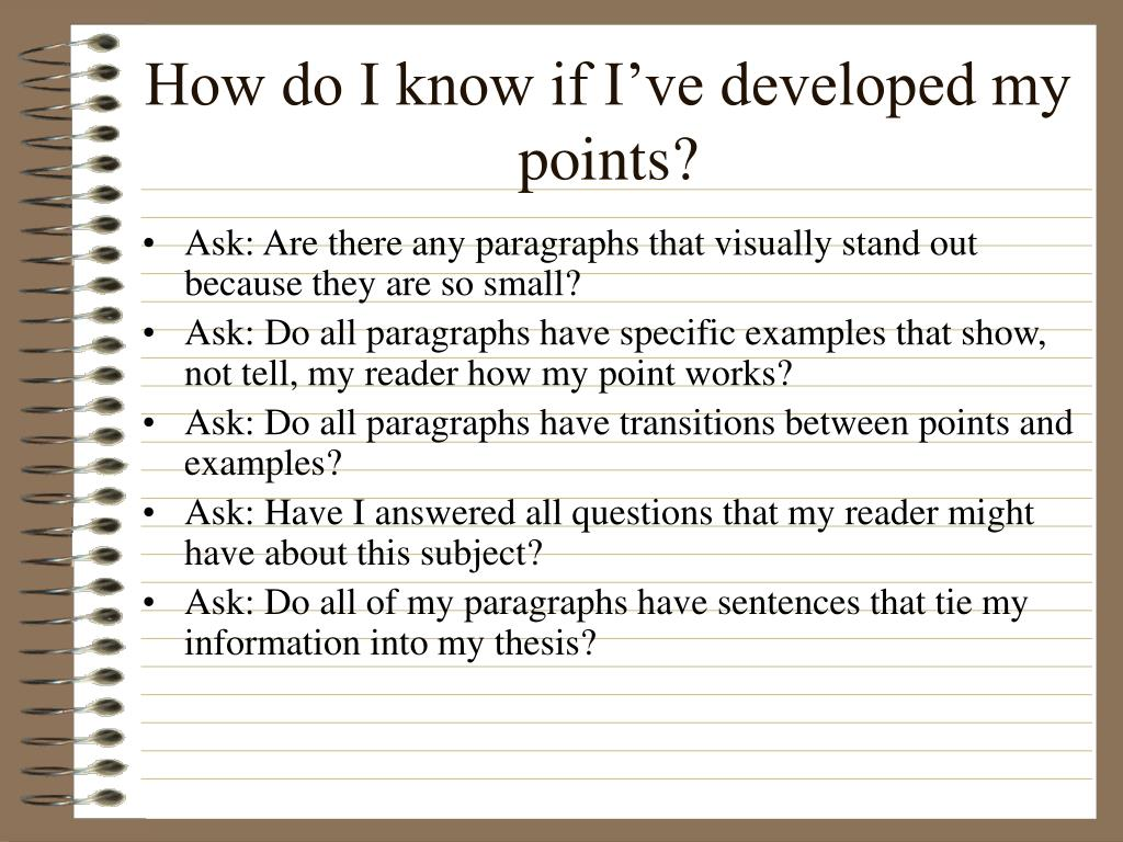 How do I know if I've developed my points?
