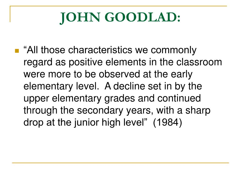 JOHN GOODLAD: