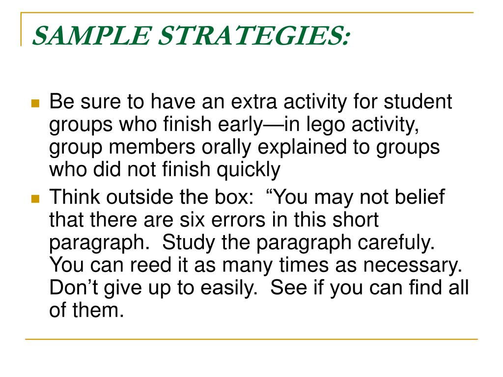 SAMPLE STRATEGIES: