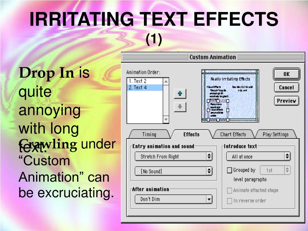 IRRITATING TEXT EFFECTS