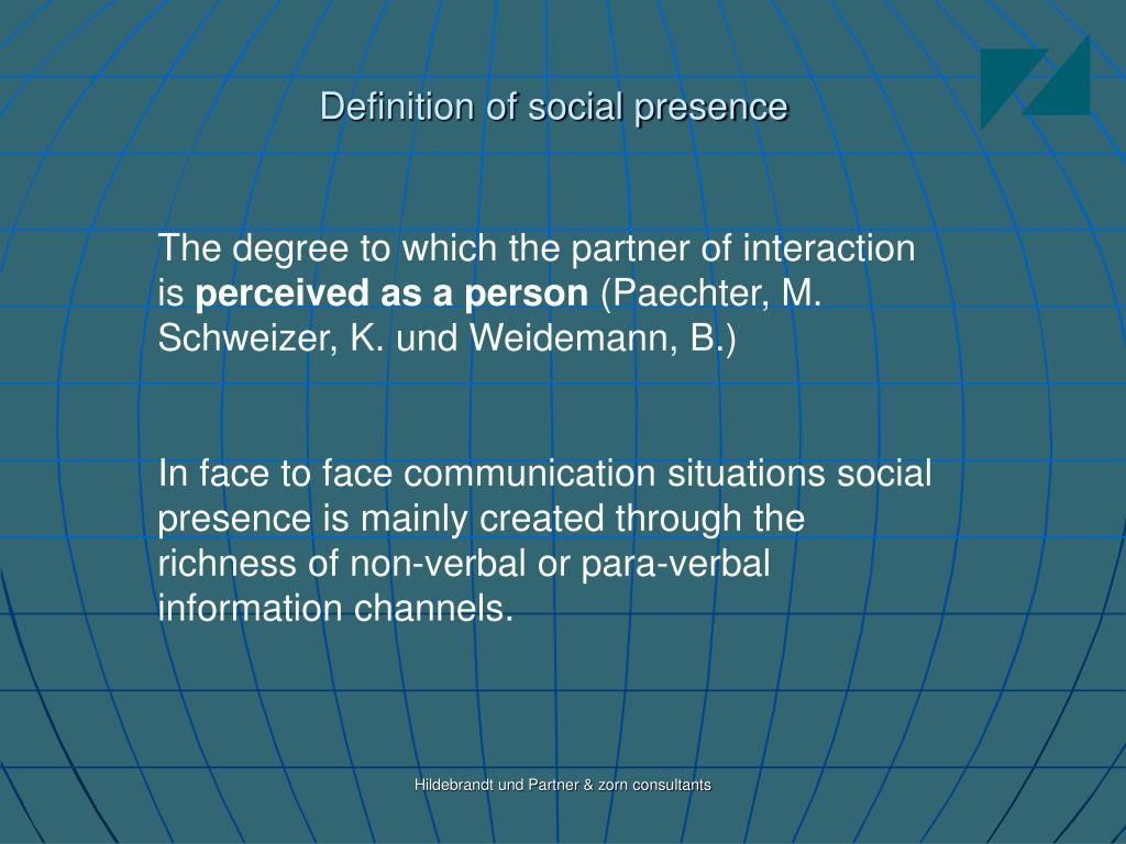 Definition of social presence