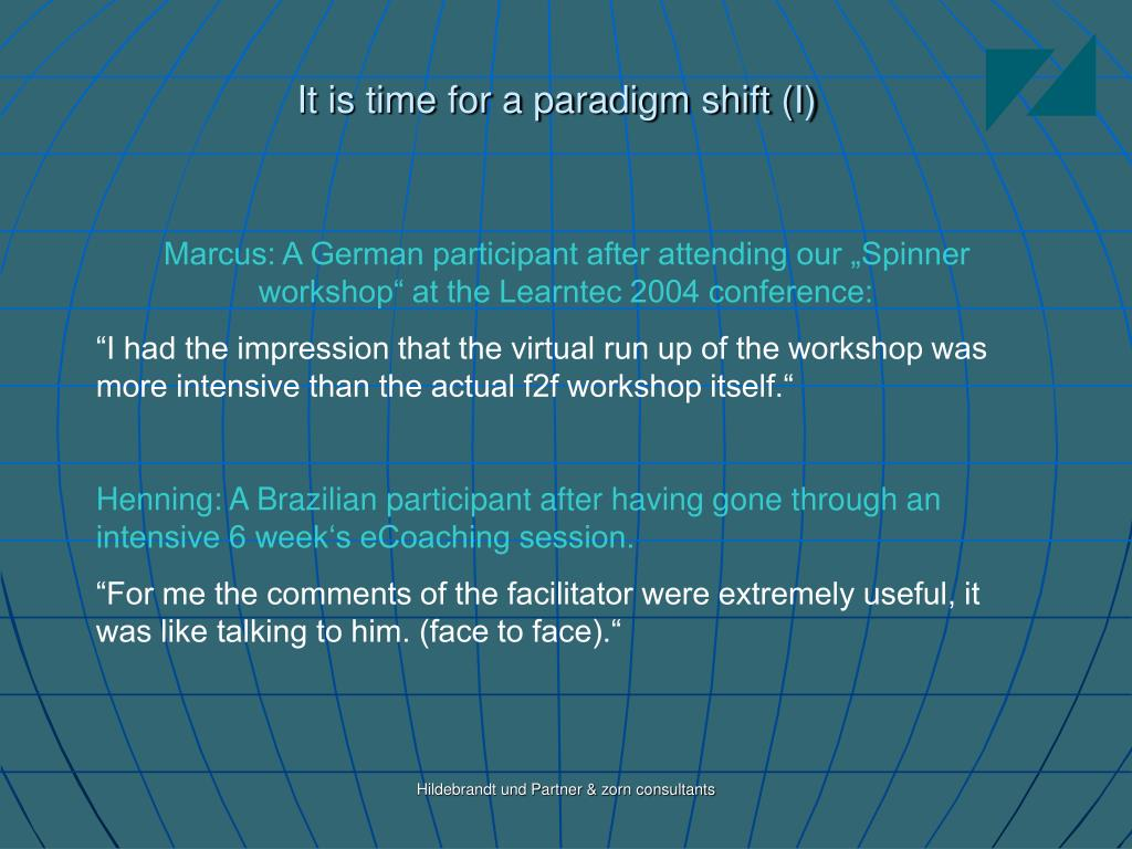 It is time for a paradigm shift (I)