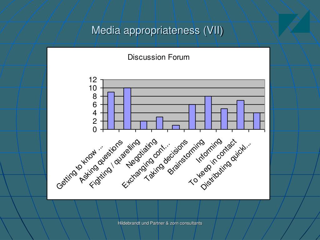 Media appropriateness (VII)