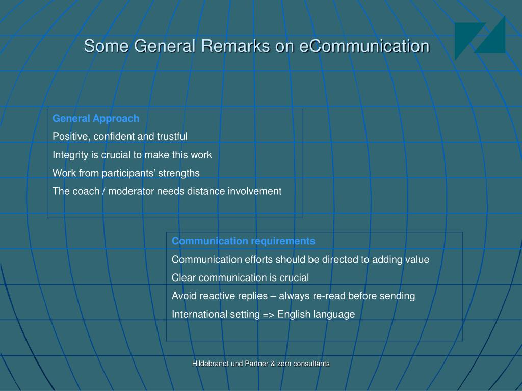 Some General Remarks on eCommunication