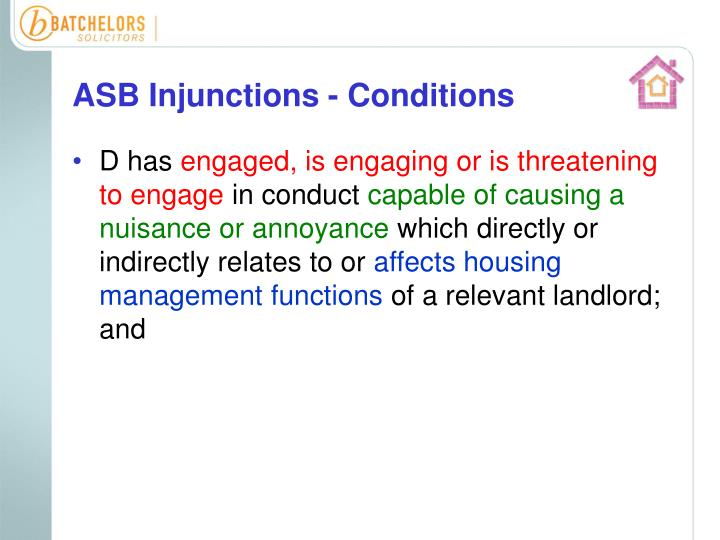 ASB Injunctions - Conditions