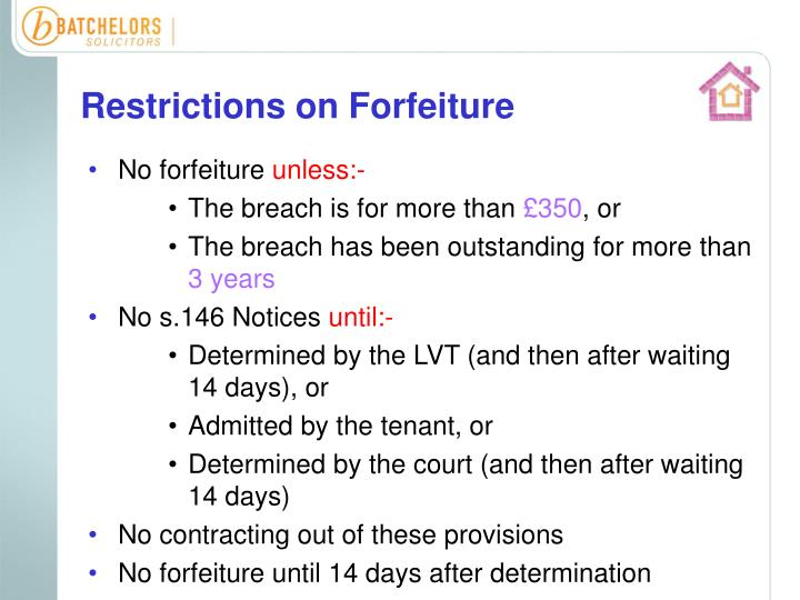 Restrictions on Forfeiture