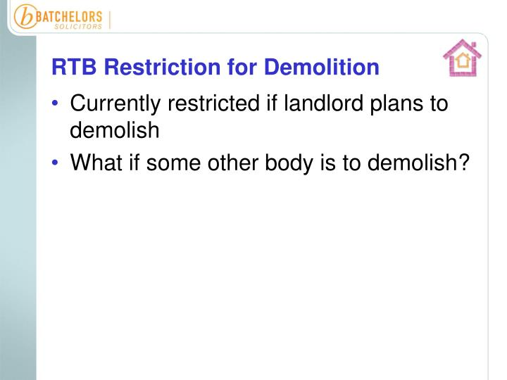 RTB Restriction for Demolition
