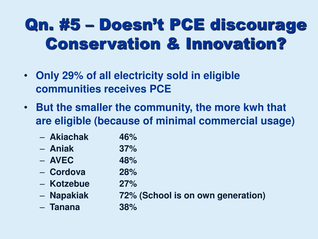 Qn. #5 – Doesn't PCE discourage Conservation & Innovation?