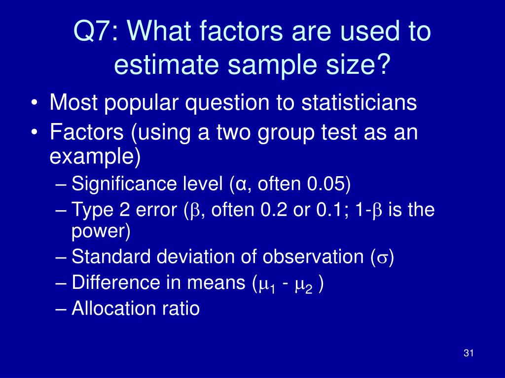 Q7: What factors are used to estimate sample size?