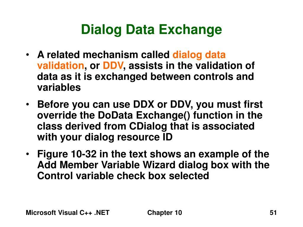 Dialog Data Exchange