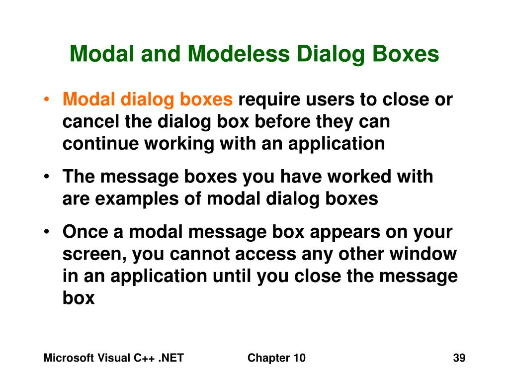 Modal and Modeless Dialog Boxes