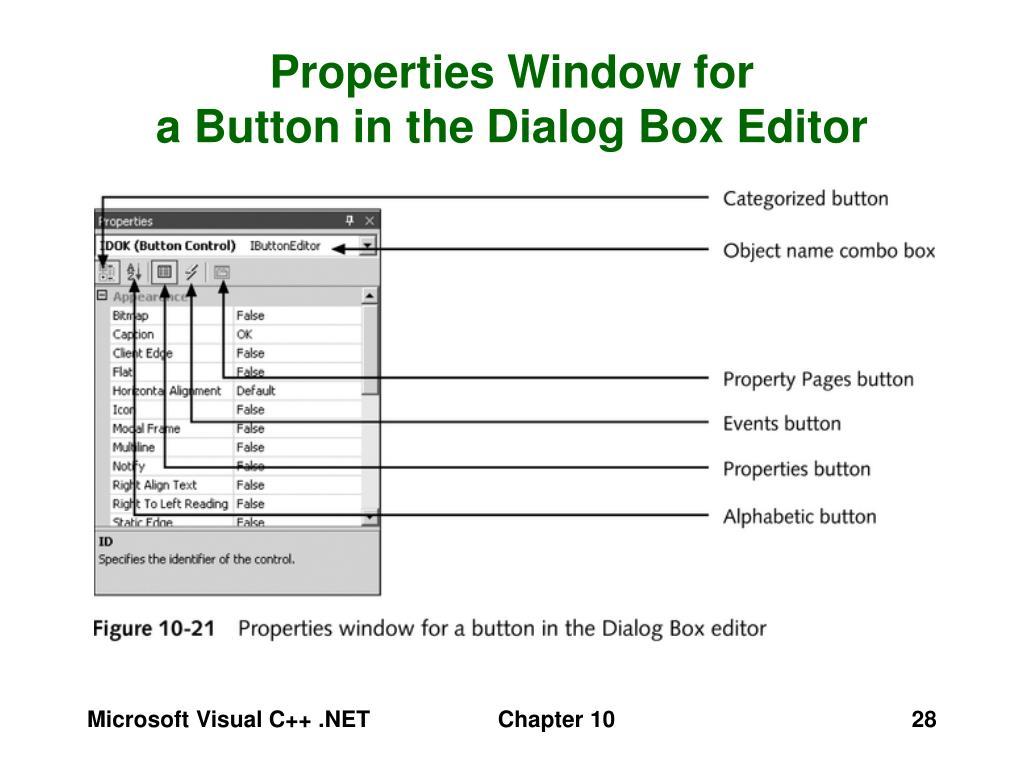 Properties Window for