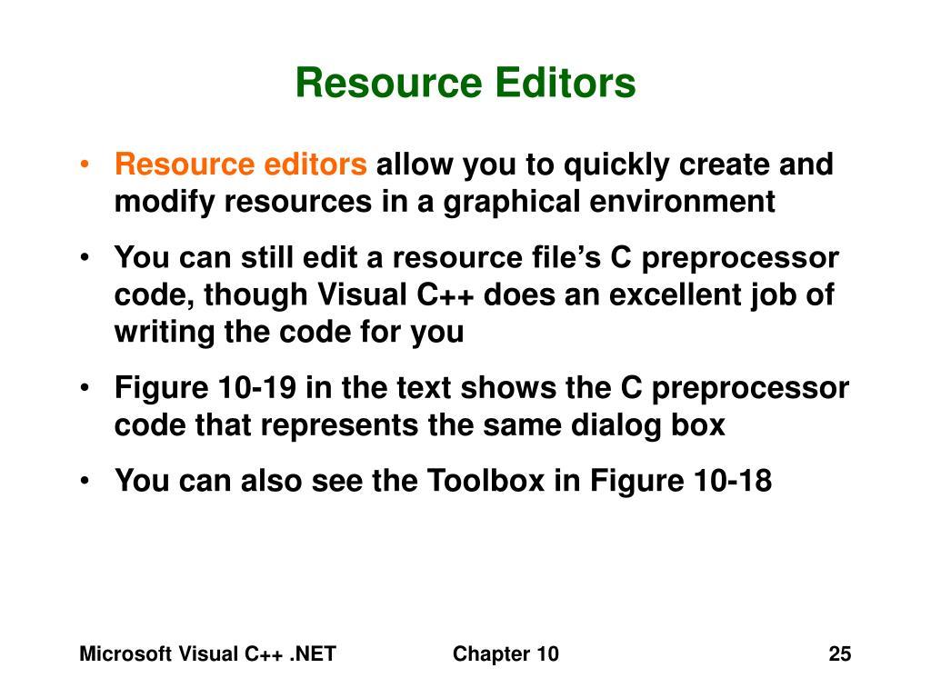 Resource Editors