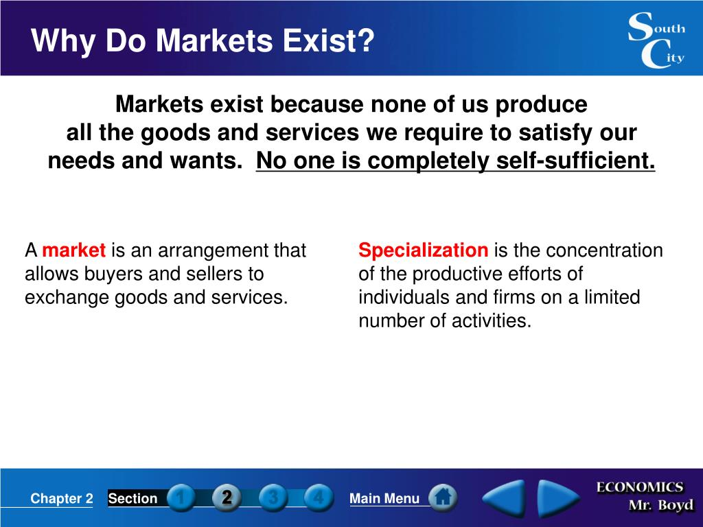 Markets exist because none of us produce