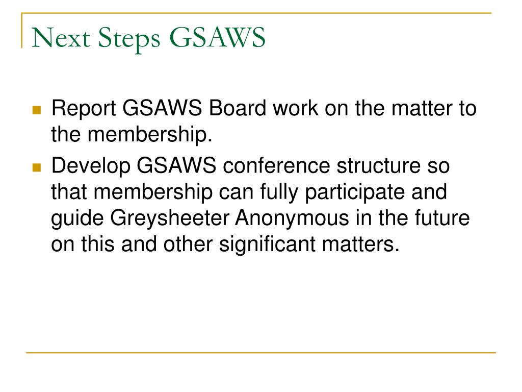 Next Steps GSAWS
