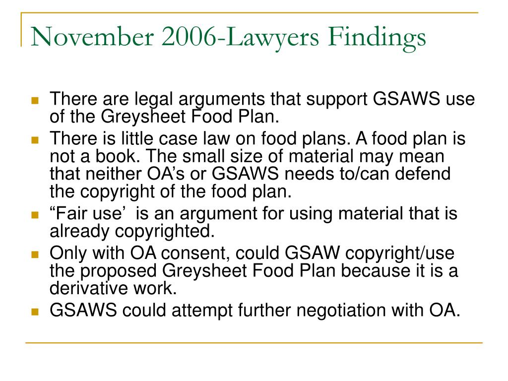 November 2006-Lawyers Findings