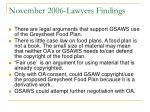 november 2006 lawyers findings