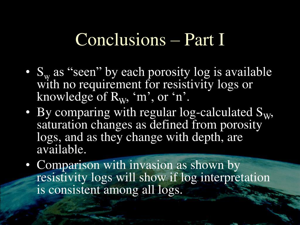 Conclusions – Part I