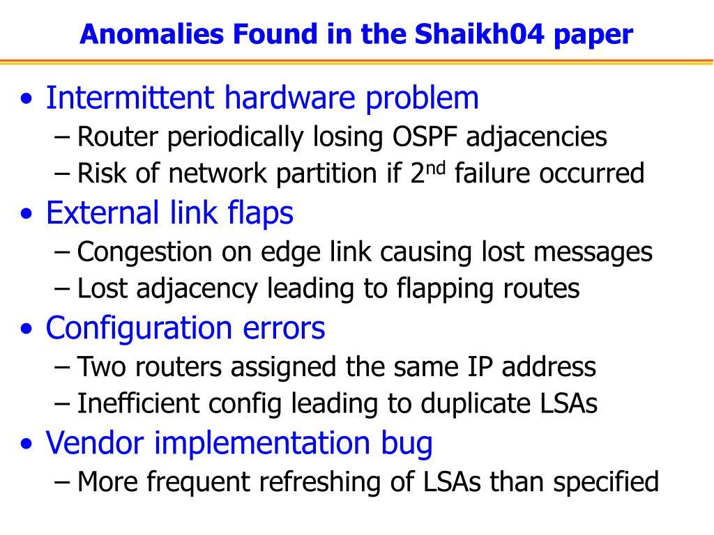 Anomalies Found in the Shaikh04 paper