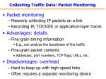 collecting traffic data packet monitoring