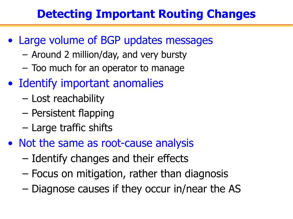 Detecting Important Routing Changes