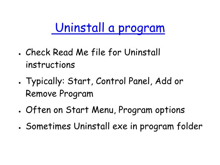 Uninstall a program
