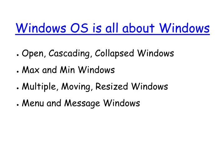 Windows OS is all about Windows