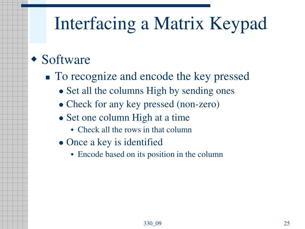 Interfacing a Matrix Keypad