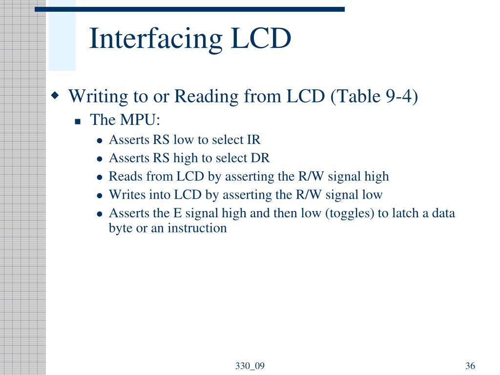 Interfacing LCD