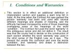 1 conditions and warranties