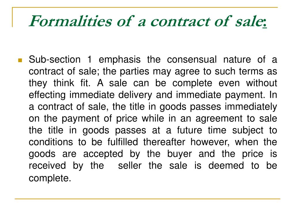 Formalities of a contract of sale