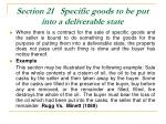 section 21 specific goods to be put into a deliverable state