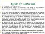 section 64 auction sale