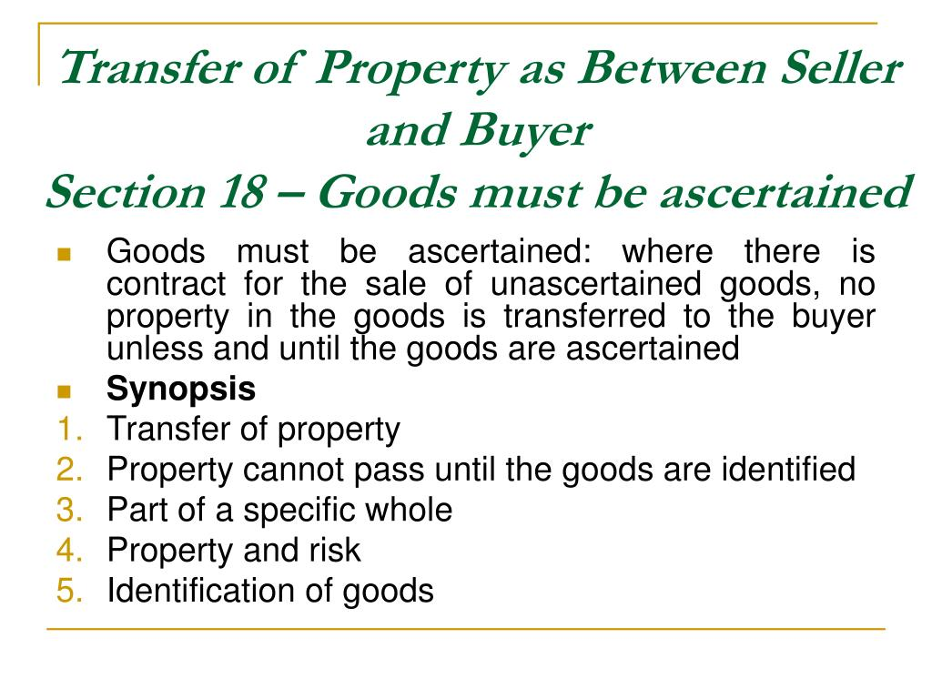 Transfer of Property as Between Seller and Buyer