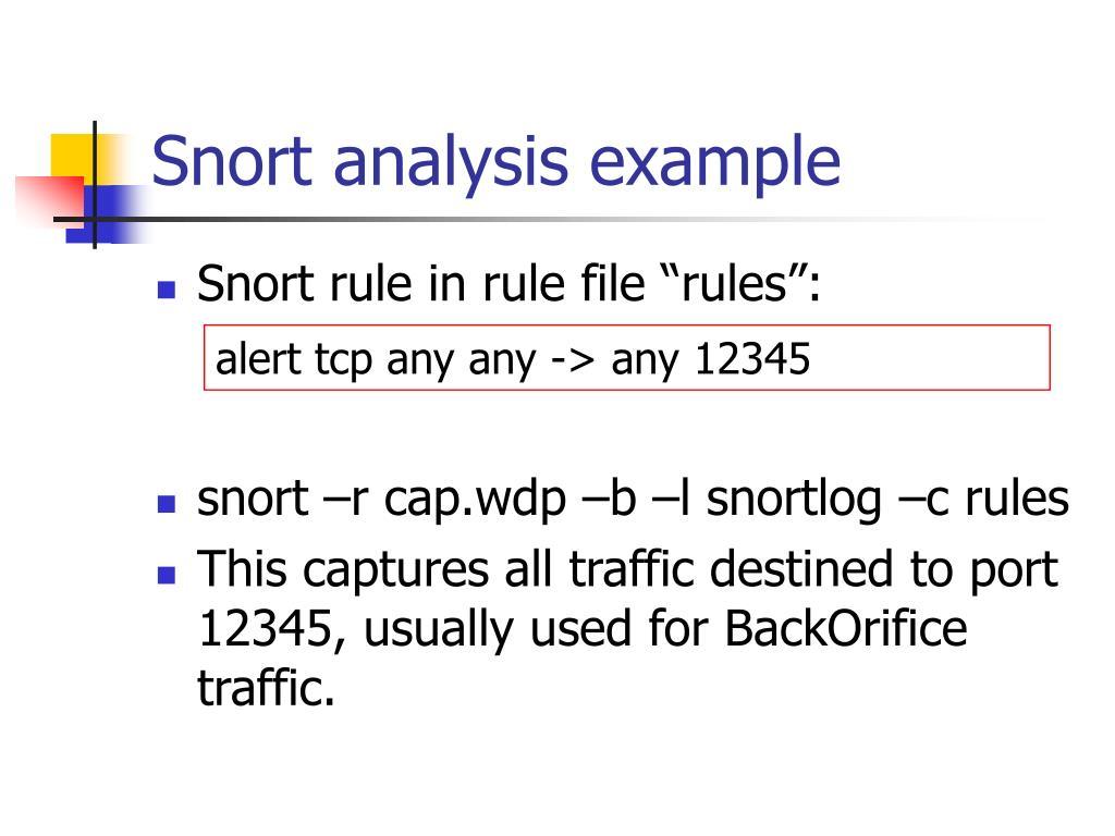 Snort analysis example